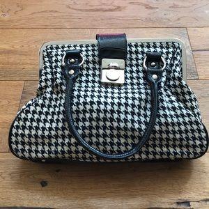 Express black and white herringbone purse